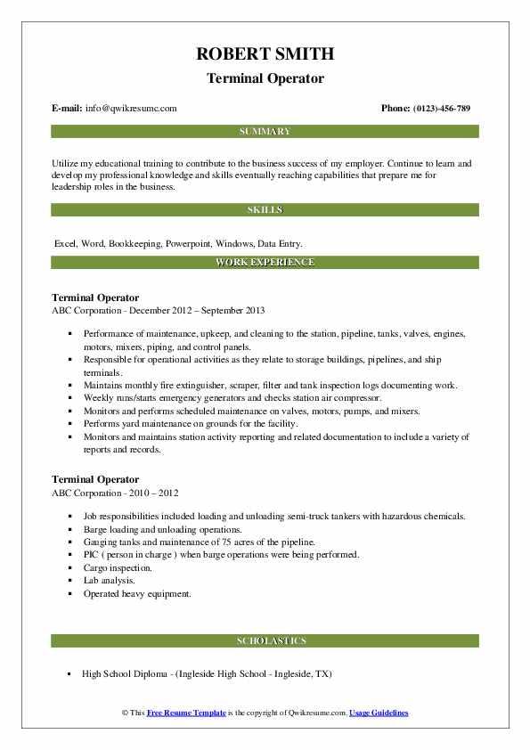 Terminal Operator Resume example