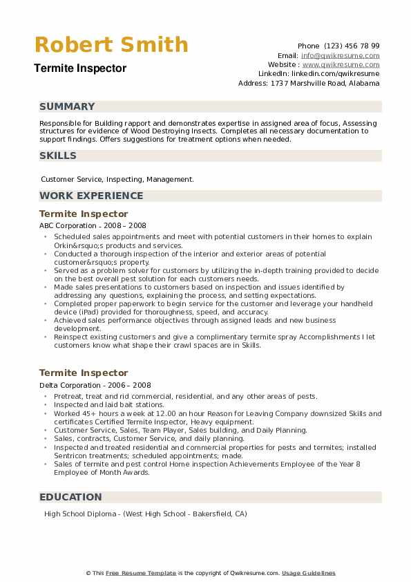 Termite Inspector Resume example
