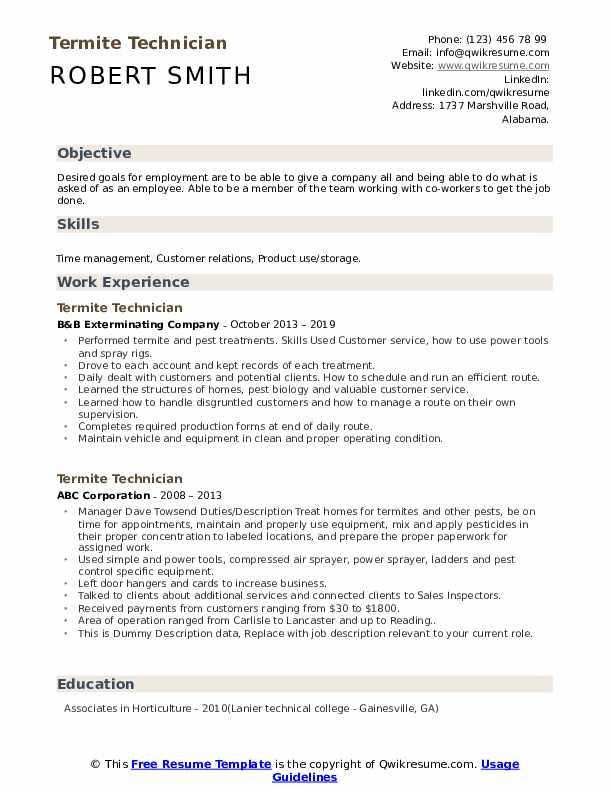 Termite Technician Resume example