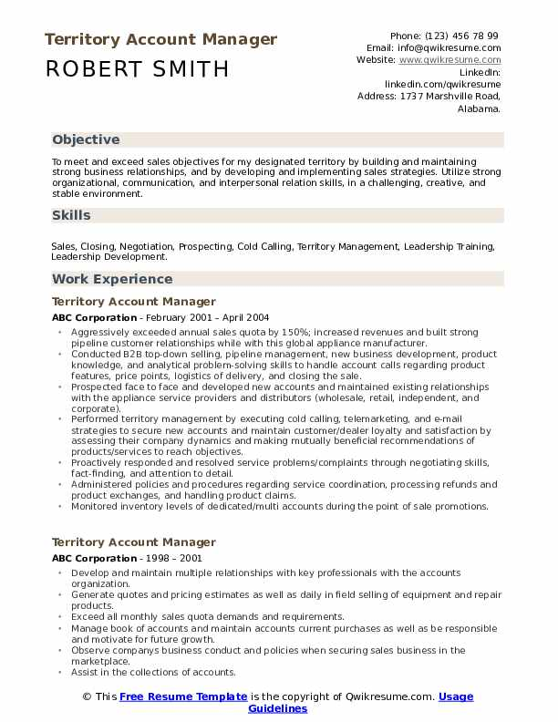 Territory Account Manager Resume Example