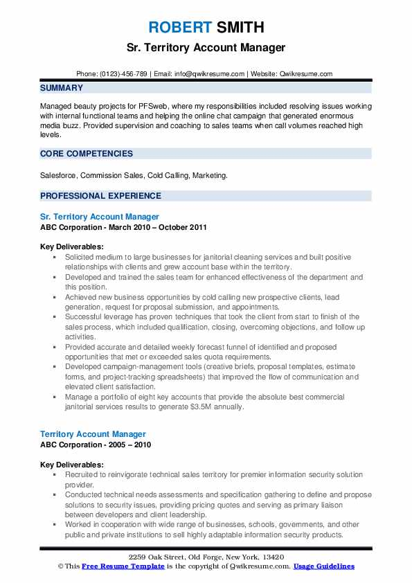 Sr. Territory Account Manager Resume Sample