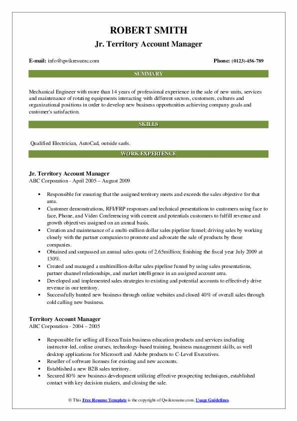 Jr. Territory Account Manager Resume Format