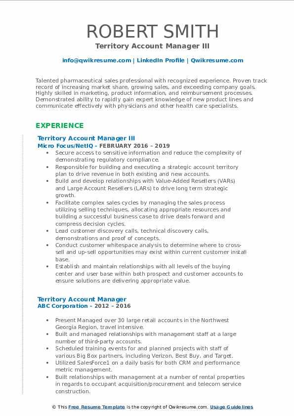 Territory Account Manager III Resume Model