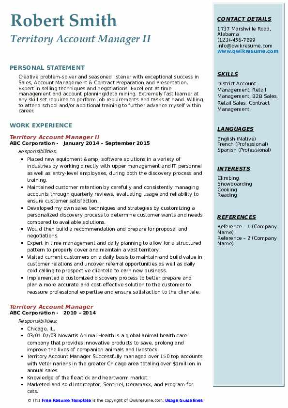 Territory Account Manager II Resume Sample