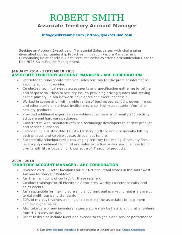 Associate Territory Account Manager Resume Model