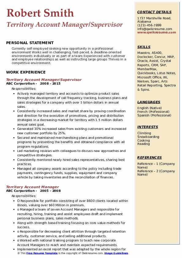 Territory Account Manager/Supervisor Resume Template