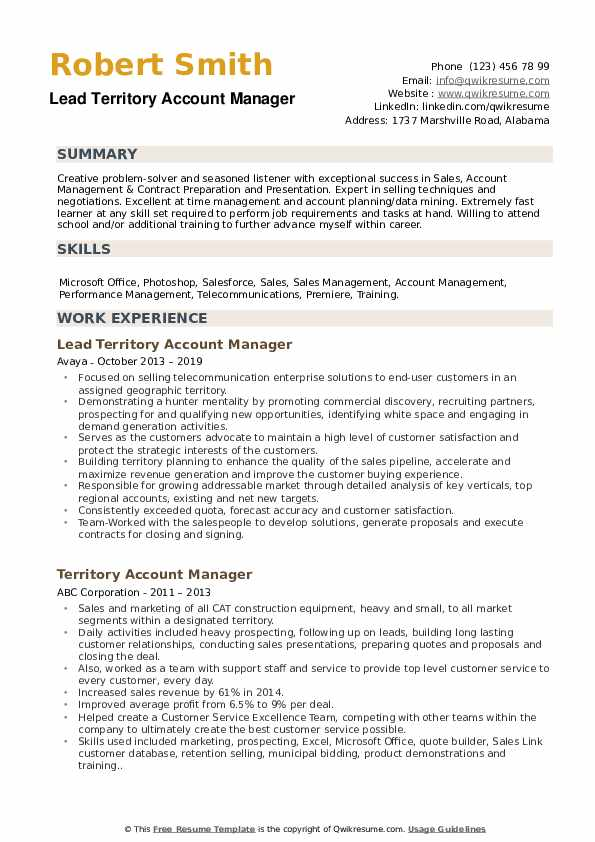 Lead Territory Account Manager Resume Model