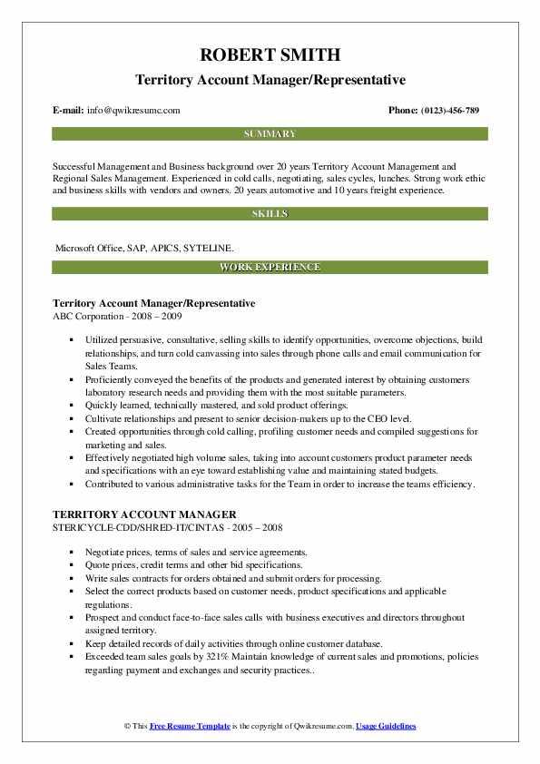 Territory Account Manager/Representative Resume Example