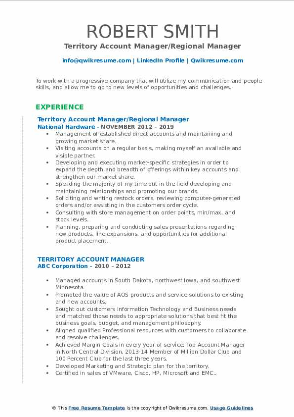 Territory Account Manager/Regional Manager Resume Sample