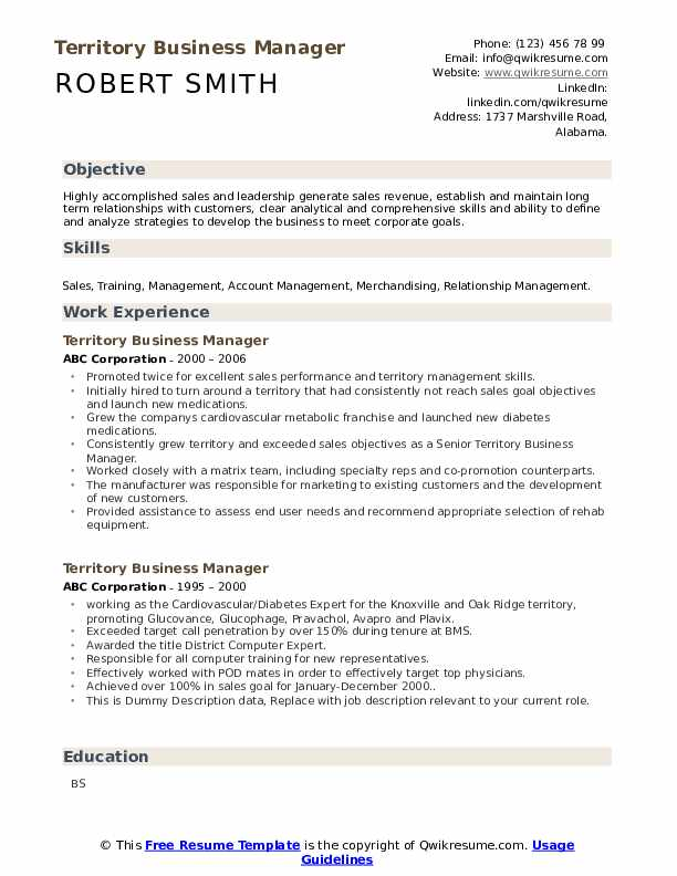 Territory Business Manager Resume example
