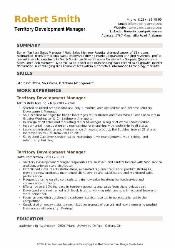 Territory Development Manager Resume example