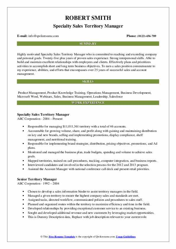 Specialty Sales Territory Manager Resume Template