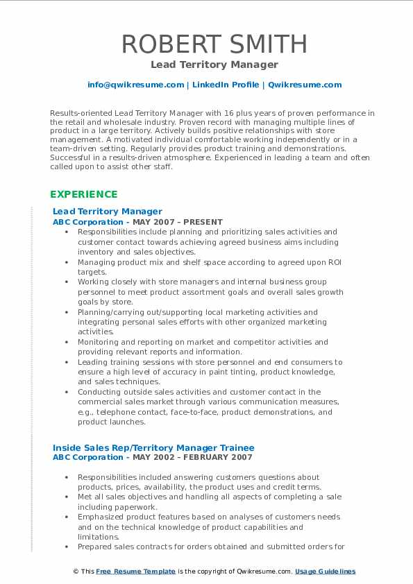 Lead Territory Manager Resume Model