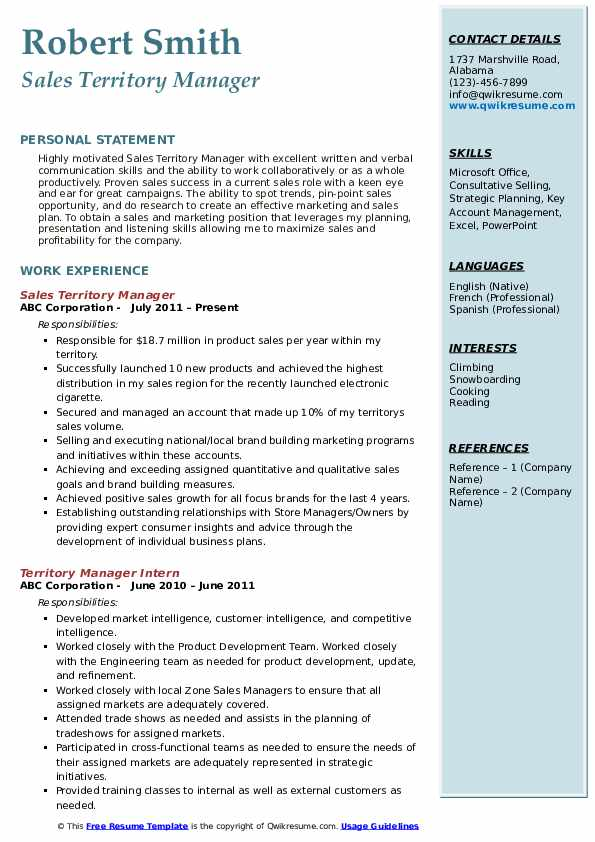 Sales Territory Manager Resume Example