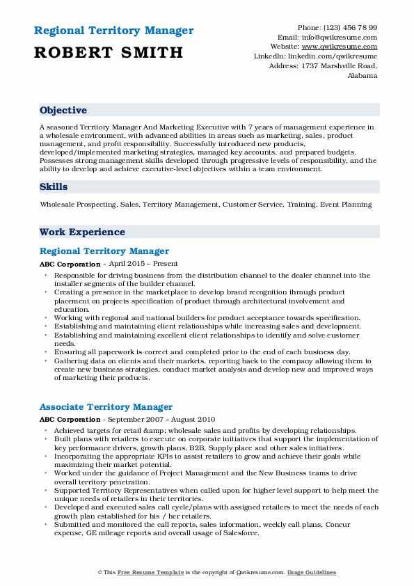 Regional Territory Manager Resume Format