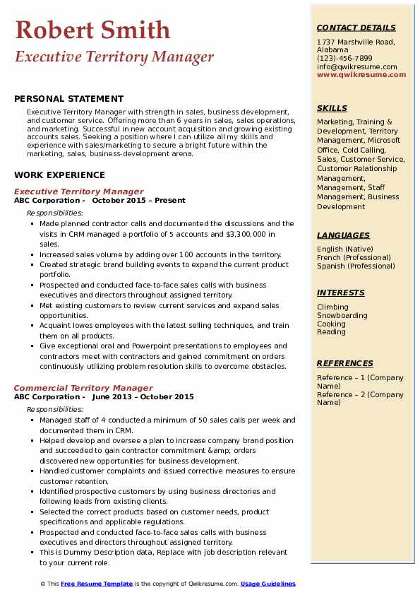 Executive Territory Manager Resume Format