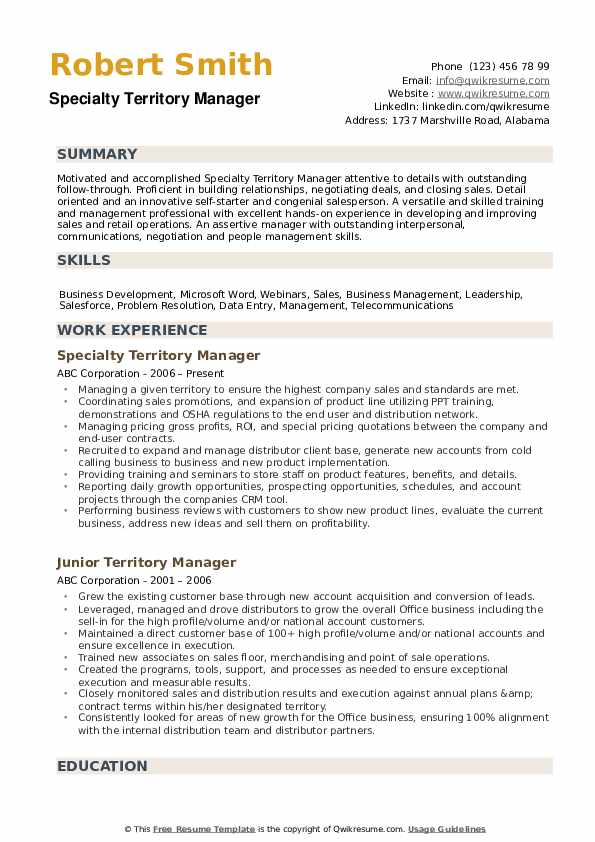 Territory Manager Resume example