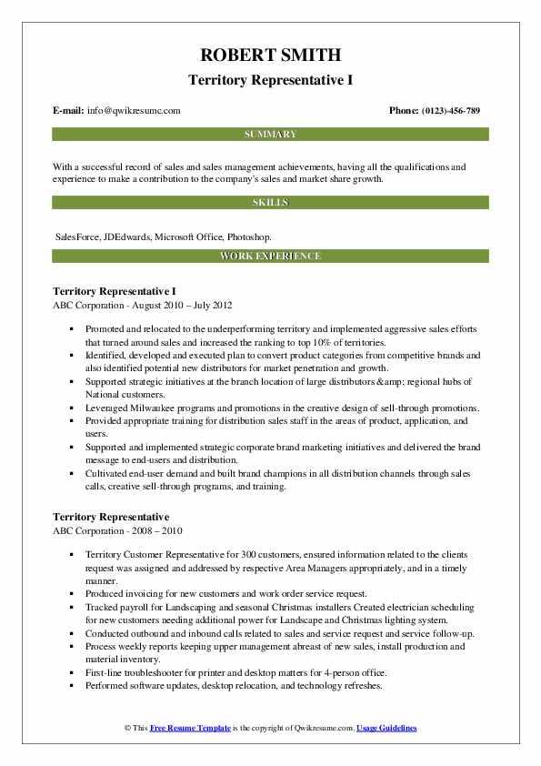 Territory Representative I Resume Format