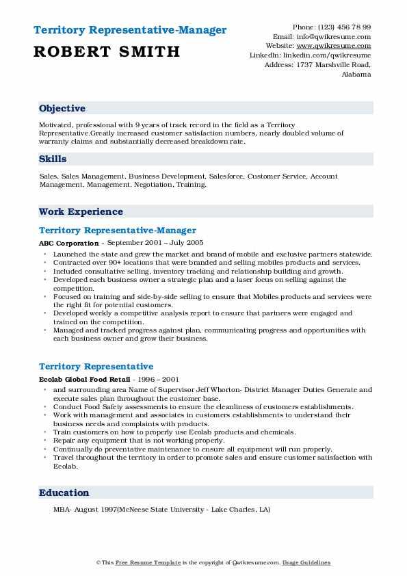 Territory Representative-Manager Resume Model