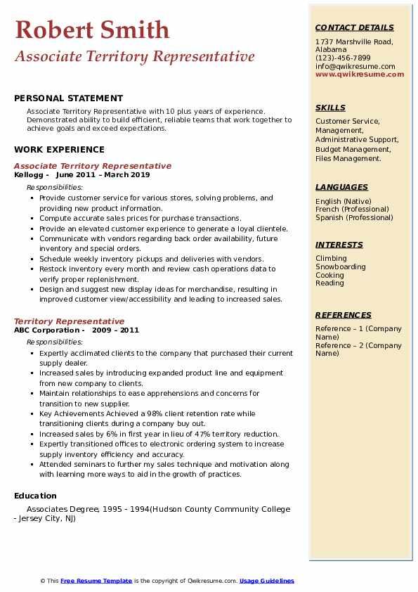 Associate Territory Representative Resume Format