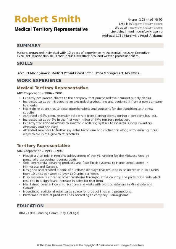 Medical Territory Representative Resume Example