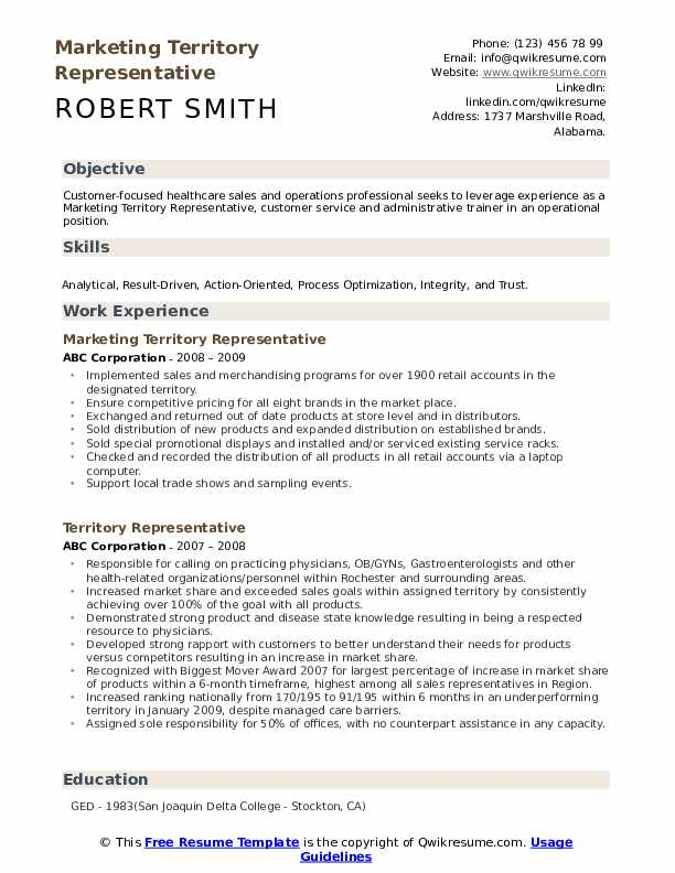 Marketing Territory Representative Resume Model