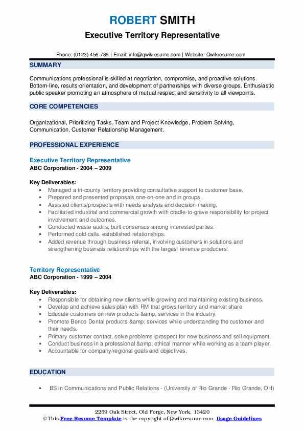 Executive Territory Representative Resume Format