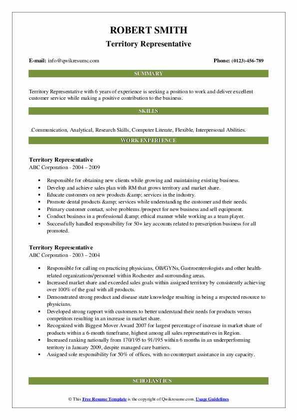 Territory Representative Resume example