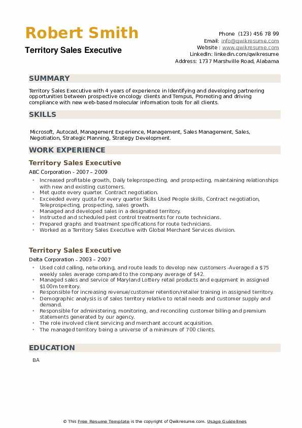 Territory Sales Executive Resume example