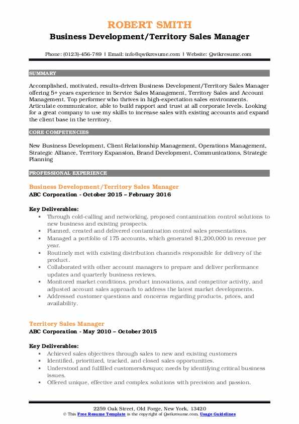 Territory Sales Manager Resume Samples Qwikresume