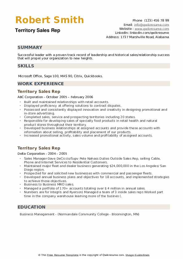 Territory Sales Rep Resume example
