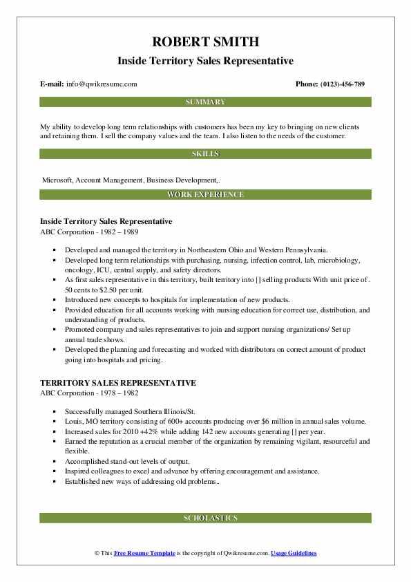 territory sales representative resume samples
