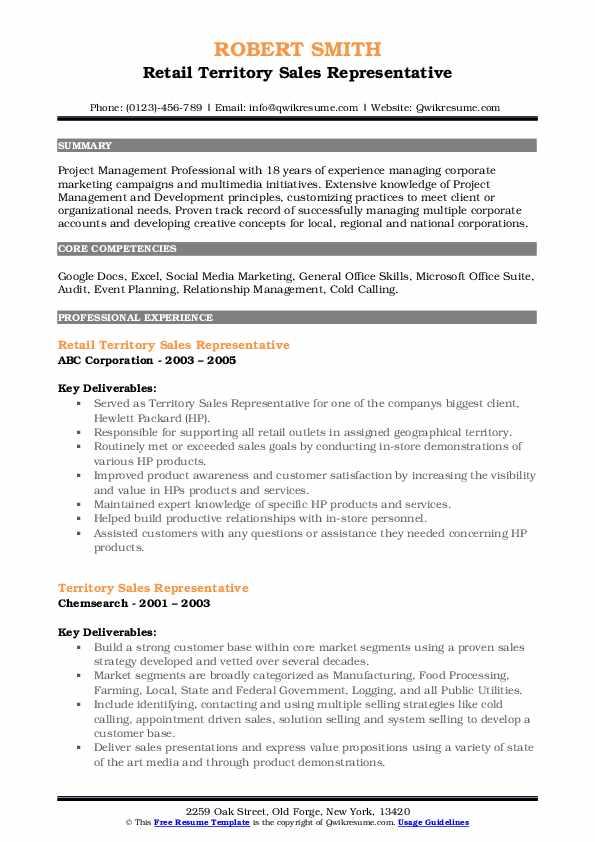 Territory sales rep resume