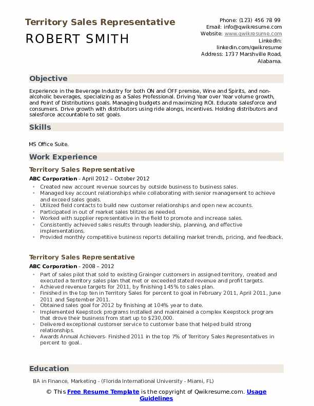 Territory Sales Representative Resume example