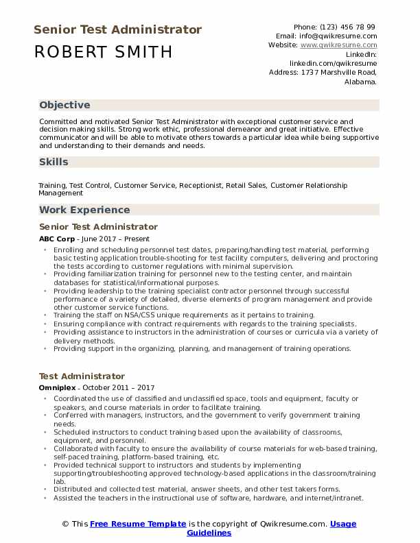 Senior Test Administrator Resume Model
