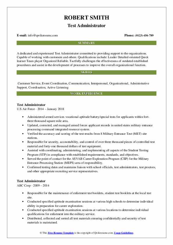 Test Administrator Resume Example