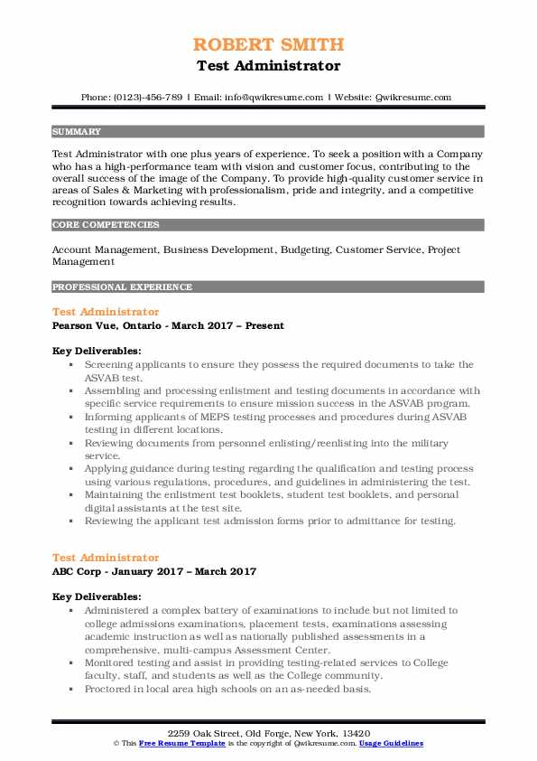 Test Administrator Resume Sample