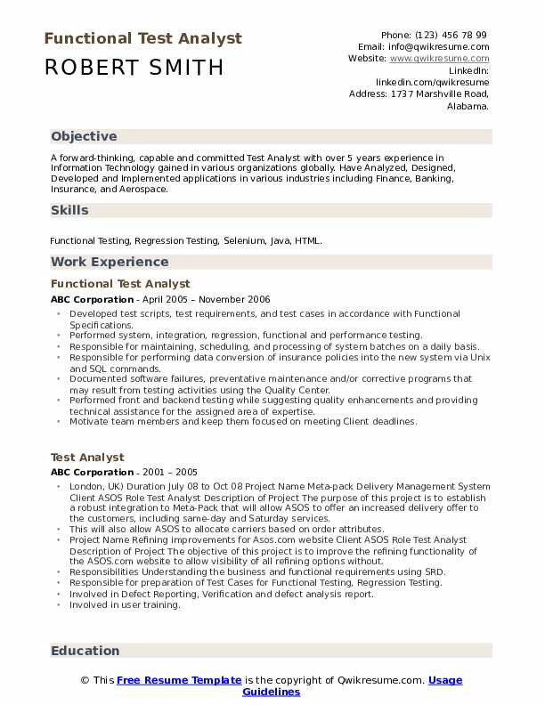 Functional Test Analyst  Resume Format