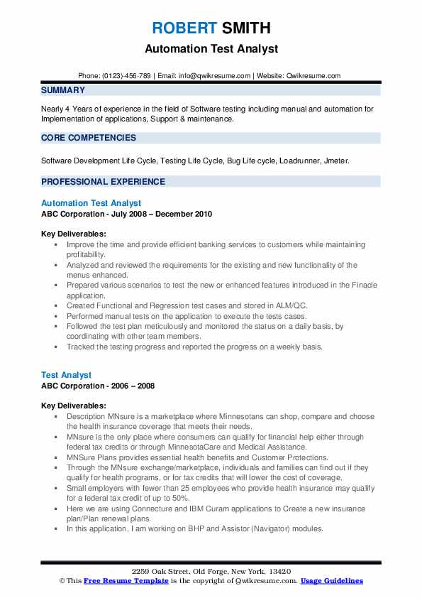 Automation Test Analyst Resume Sample
