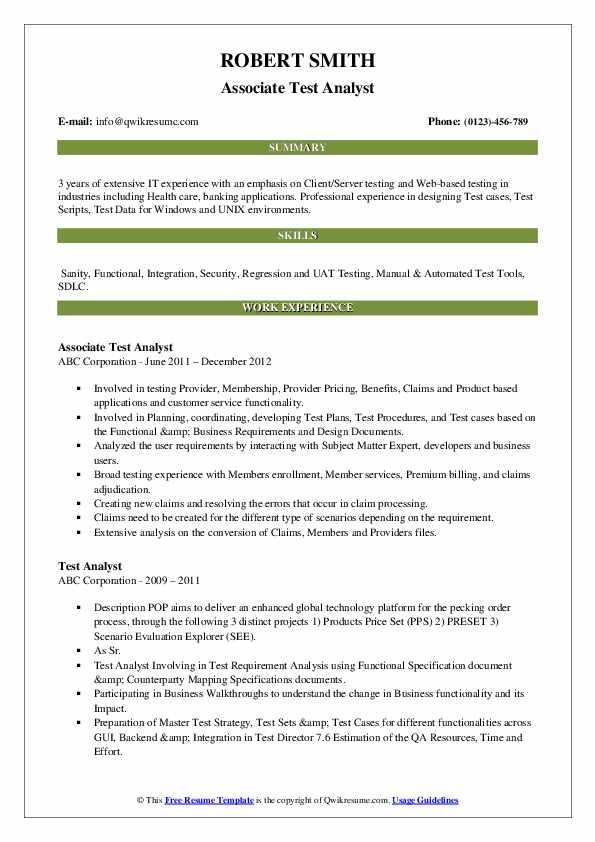 Associate Test Analyst Resume Template