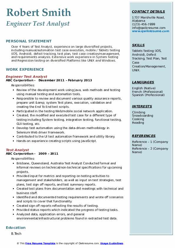 Engineer Test Analyst Resume Model