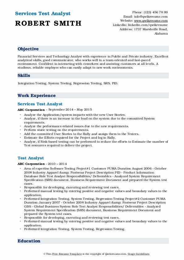 Services Test Analyst Resume Example