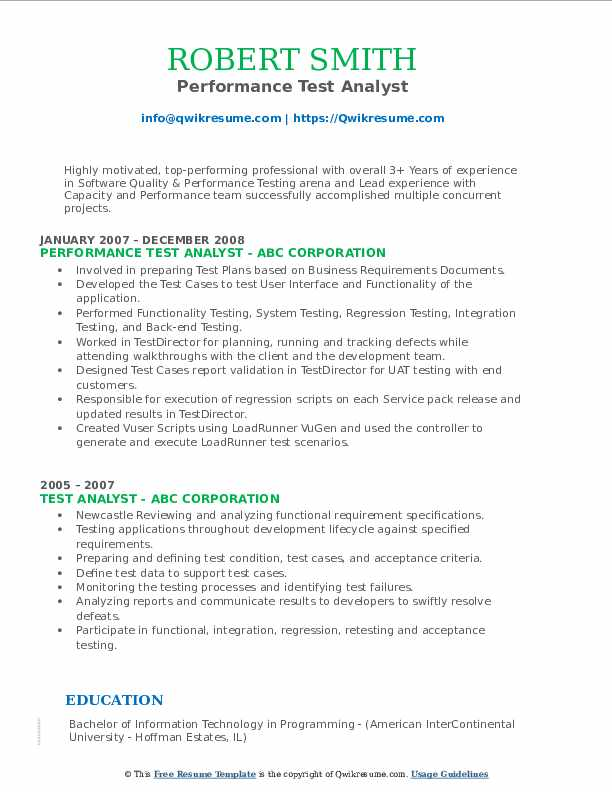 Performance Test Analyst Resume Template