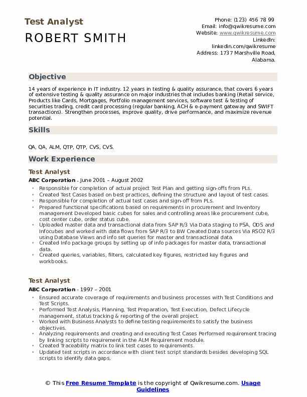 Test Analyst Resume Sample
