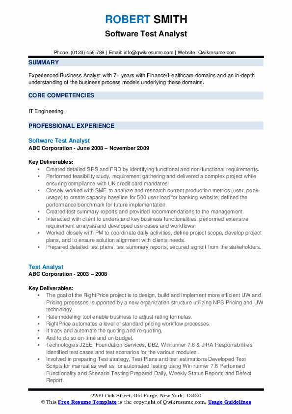 Software Test Analyst Resume Example