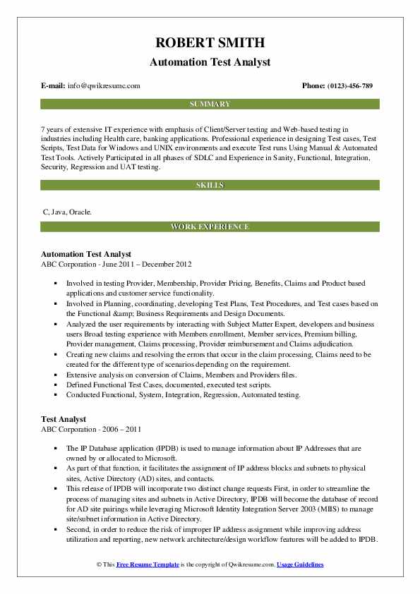 Automation Test Analyst Resume Example