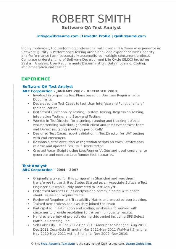 Software QA Test Analyst Resume Sample