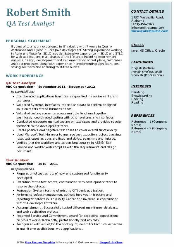 QA Test Analyst Resume Format