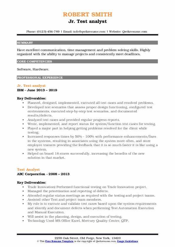 Jr. Test analyst Resume Model