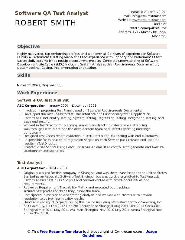 Performance Engineer Resume example